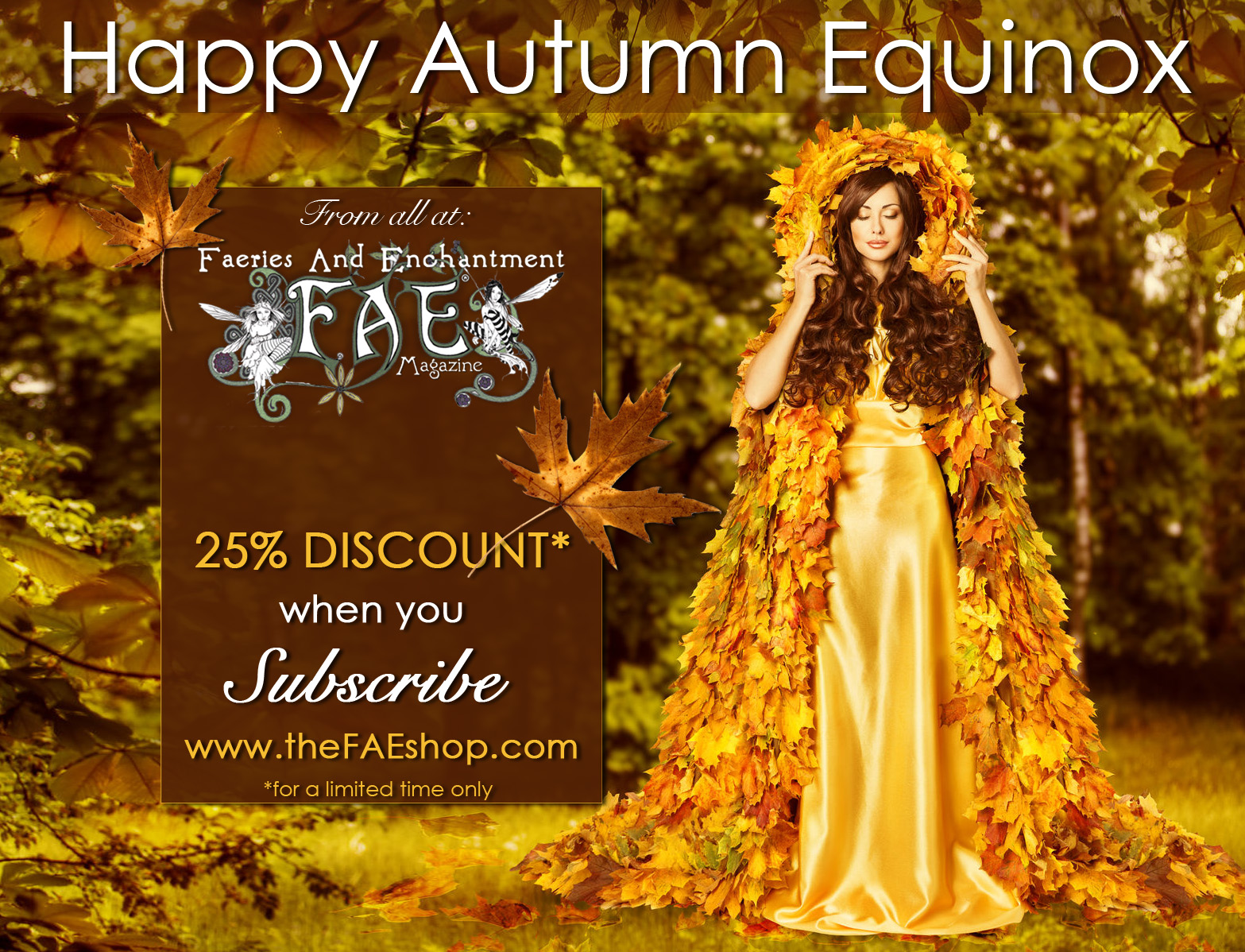 45240917 - autumn fairy woman in forest, nymph in yellow leaves dress, fantasy goddess of earth